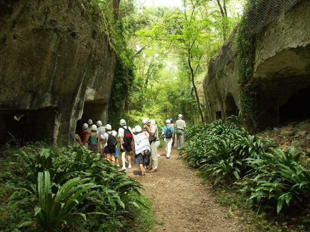Visiteurs casqués sur le parcours de visite guidée